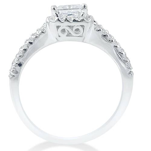 3/4 Ct Halo Split Shank Lab Grown Diamond Engagement Ring 14K White Gold (F, VS)