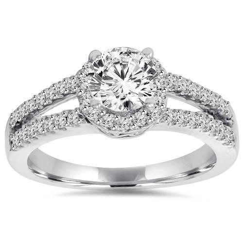 3/4 Ct Halo Split Shank Lab Created Diamond Engagement Ring 14K White Gold (((G-H)), SI(1)-SI(2))