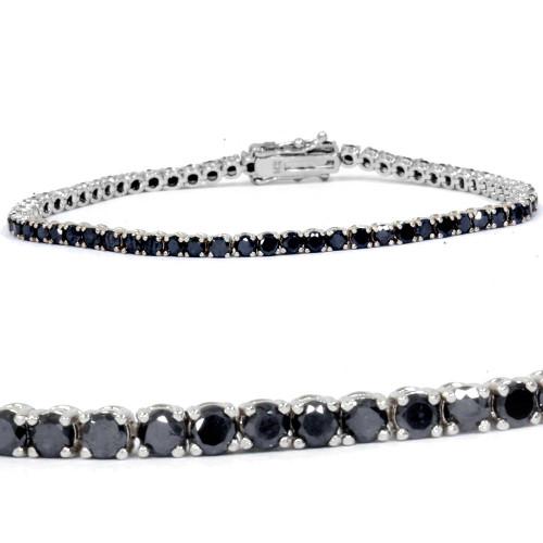 "3ct Black Diamond Tennis Bracelet 14K White Gold 7"" (Black, )"