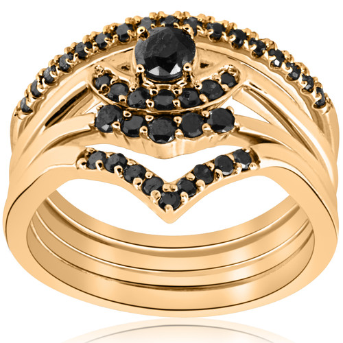 1/2ct 4-Ring Stackable Yellow Gold Black Diamond Curved Wedding Engagement Set (Black, )