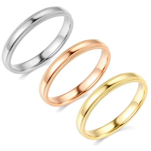 3mm Milgrain Plain High Polished Dome Wedding Band 10k White, Yellow, Rose Gold