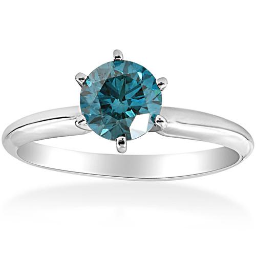 1 1/2ct Blue Diamond Solitaire Engagement Ring 14K White Gold (Blue, I1-I2)