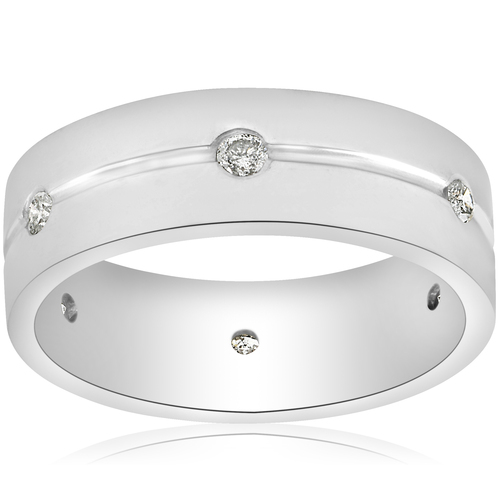 1/2ct Diamond Mens 8mm Flat High Polished Comfort Fit Wedding Band (G/H, SI1-SI2)
