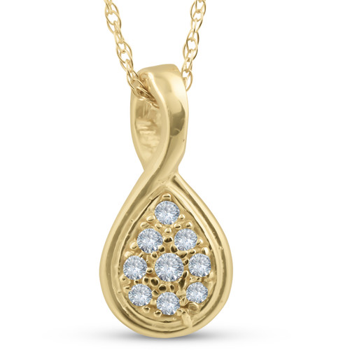 1/10ct Pave Tear Drop Solitaire Diamond Pendant 10K Yellow Gold (G/H, I2)