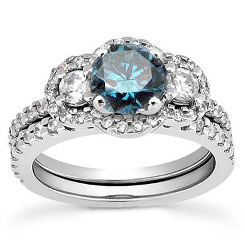 1 3/4ct Blue & White Diamond 3-Stone Ring 14K White Gold (G/H, I1-I2)