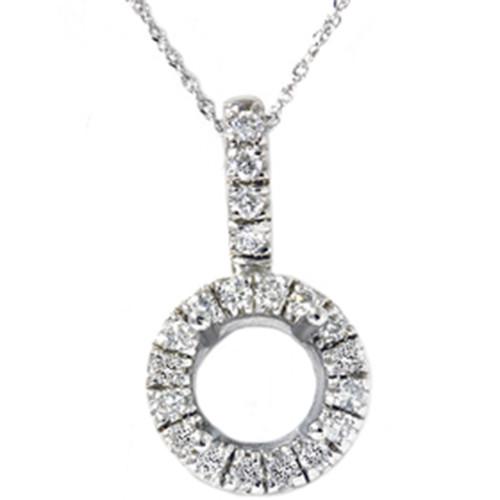 White Gold 1/4ct Pave Have Solitaire Diamond Semi Mount Pendant (G/H, I1)