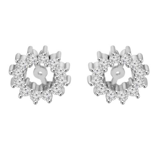 1/2ct Diamond Earrings Jackets 14K White Gold  (5-5.5mm) (G-H, I1)