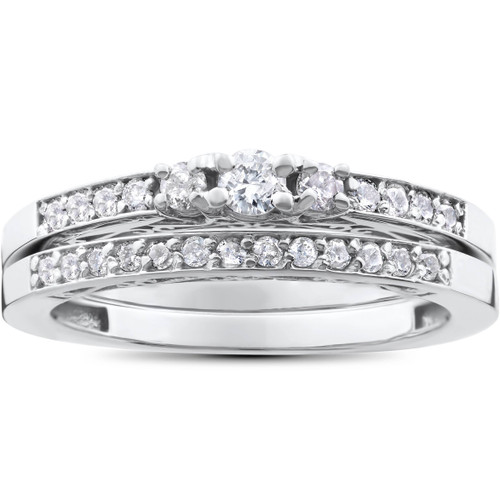 1/2ct 3 Stone Engagement Wedding Ring Set 14K White Gold (H/I, I2-I3)