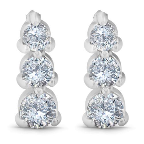 1/2ct 3 Stone Round Graduated Diamond Earrings 14K White Gold (G/H, I2)