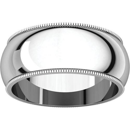 8mm Platinum Milgrain Wedding Band