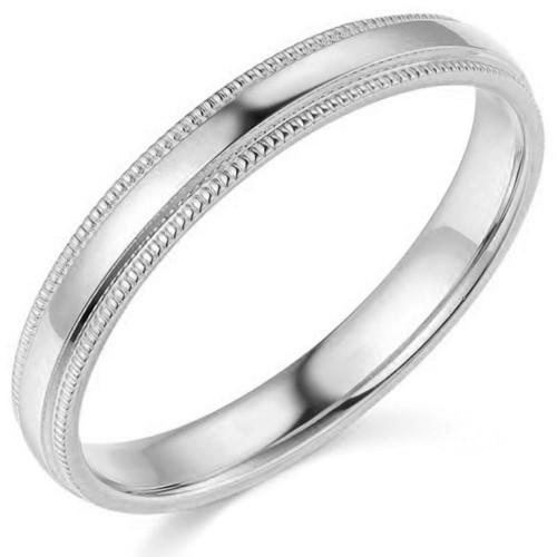 3mm Platinum Milgrain Wedding Band
