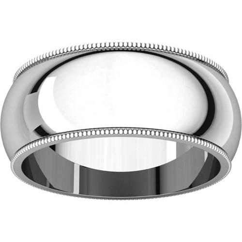 9mm Platinum Milgrain Wedding Band