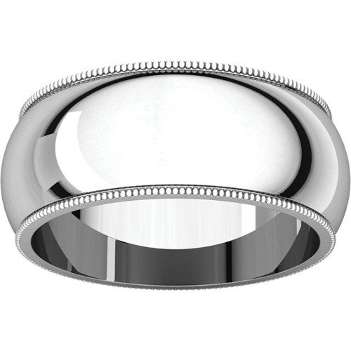 10mm Platinum Milgrain Wedding Band