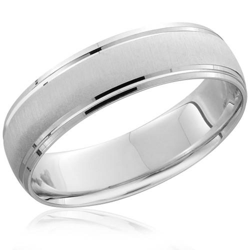 Mens 950 Platinum 6mm Brushed Wedding Band Ring