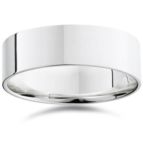 7mm Flat High Polished Wedding Band 10K White Gold Plain Mens Ring Comfort Fit