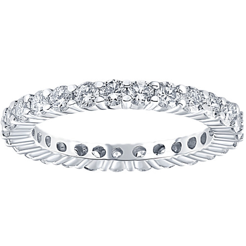 1.00CT Diamond Eternity Stackable Wedding Ring 14K White Gold (F, VS2-SI1)