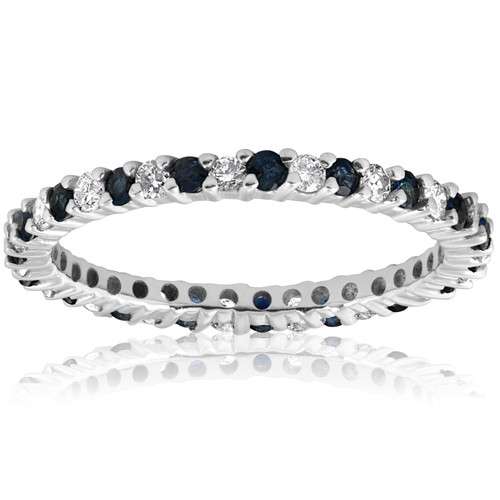 1/2ct Blue Sapphire Diamond Wedding Band Stackable Eternity Ring 14k White Gold (G/H, I1-I2)