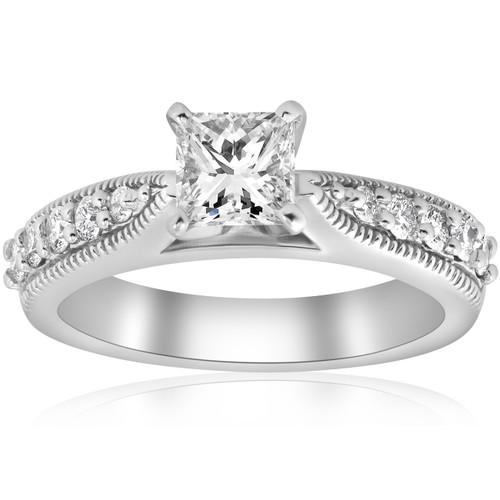 1 3/8ct Vintage Princess Cut Diamond Engagement Ring Art Deco 14k White Gold (H/I, I1-I2)