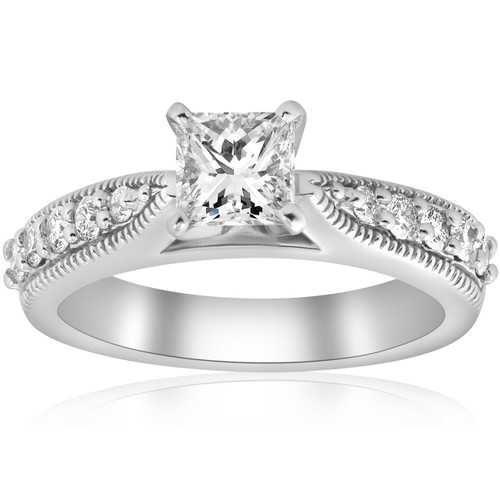 1 3/8ct Vintage Princess Cut Diamond Engagement Ring Art Deco 14k White Gold (H/I, I1-I2)