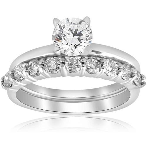 1 1/10ct Diamond Engagement Wedding Ring Solitaire Set 14k White Gold (H/I, I1-I2)
