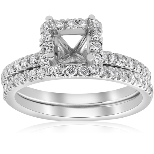5/8ct Princess Cut Diamond Halo Engagement Ring Setting Matching Band White Gold (G/H, I1-I2)
