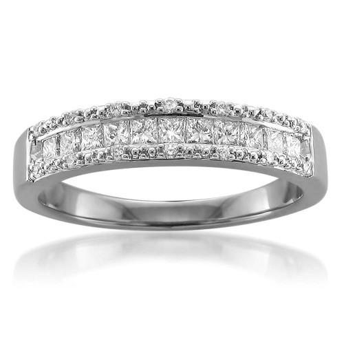 1/2ct Princess Cut Diamond Wedding Ring 14K White Gold (H/I, I2-I3)