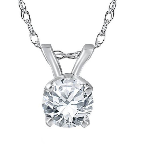"""1/2 ct Solitaire Round Diamond 14k White Gold Pendant & 18"""" Chain (I, I1)"""