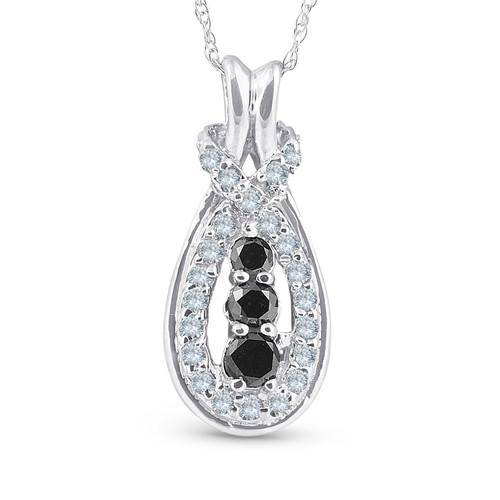 14k White Gold 1/2 Ct Black & White Knot Three Stone Diamond Pendant (G/H, I2)