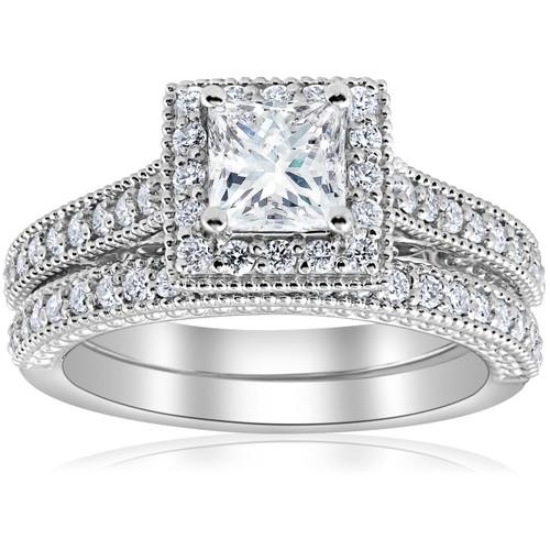 1 1/2ct Certified Princess Cut Halo Diamond Engagement Ring 14k White Gold (EVS) ((E), VS(1)-VS(2))