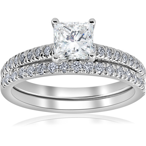 1 3/8ct GIA Certified Princess Cut Diamond Engagement Ring Set White Gold (G-VS) (((G-H)), VS(1)-VS(2))