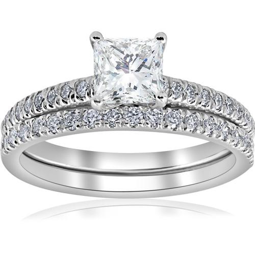 1 3/8ct GIA Certified Princess Cut Diamond Engagement Ring Set White Gold (G-VS) (((G-H)), VS(1)-VS(2))