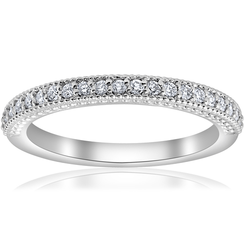 1/5ct Vintage Diamond Wedding Ring Stackable Anniversary Band 14k White Gold (H-I, I1)