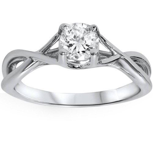 1/2ct Diamond Infinity Solitaire Engagement Ring 14K White Gold (H/I, I1-I2)