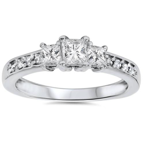 1/3ct Three Stone Princess Cut Diamond Engagement Ring 14K White Gold (H, SI2)
