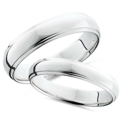 Platinum Matching His Hers Polished Wedding Bands Set