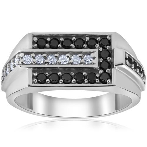 Mens 5/8ct Black & White Diamond Wedding Ring 10k White Gold (H/I, I1-I2)