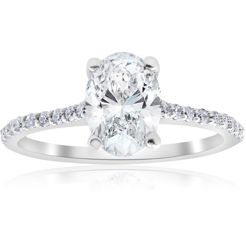 1 1/10ct Oval Diamond Engagement Ring 14k White Gold Jewelry (H/I, SI2-I1)