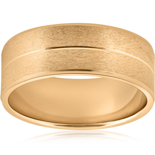 8mm Wide Mens Solid 14k Yellow Gold Brushed Wedding Ring