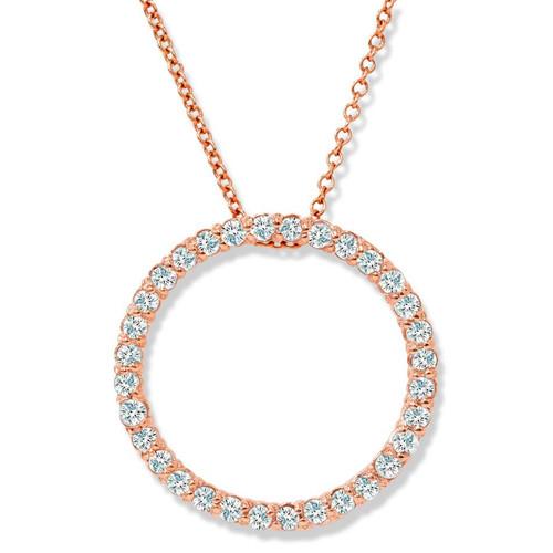 1/2ct Circle Diamond Pendant 14K Rose Gold (G/H, I2)
