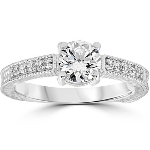 Vintage Diamond Engagement Ring 1 Carat 14K White Gold Round Brilliant Cut (G/H, I1)