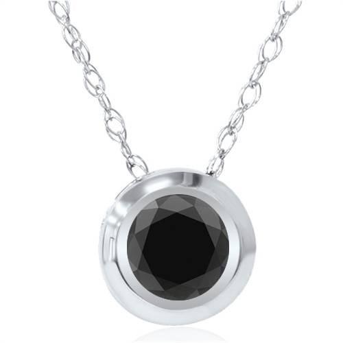 1ct AAA Black Diamond Solitaire Bezel Pendant 14K White Gold (Black, )