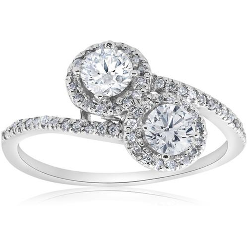 1cttw Two Stone Diamond Engagement Halo Anniversary Ring 14k White Gold Round (H/I, I1-I2)