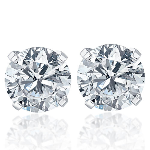 1.50CT Natural Round Brilliant Cut SI1-SI2 Diamond Stud Earrings in Solid 14K Gold Classic Setting (G/H, SI1-SI2)