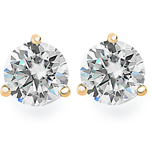 1.00Ct Round Brilliant Cut Natural Quality VS2-SI1 Diamond Stud Earrings in 14K Gold Martini Setting (G/H, VS2-SI1)