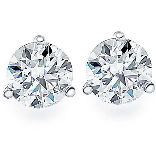1.00Ct Round Brilliant Cut Natural Quality VS2-SI1 Diamond Stud Earrings in 14K Gold Martini Setting (G/H, VS2-SI1)