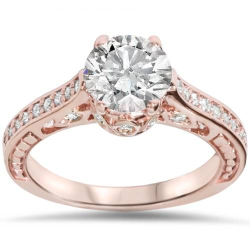 1 1/4ct Vintage Rose Gold Diamond (1ct center) Enhanced Deco Engagement Ring 14K (H/I, I1-I2)