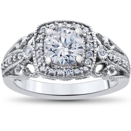 1 1/3ct Vintage Enhanced Diamond Engagement Cushion Halo Ring 14K White Gold ((G-H), SI(1)-SI(2))