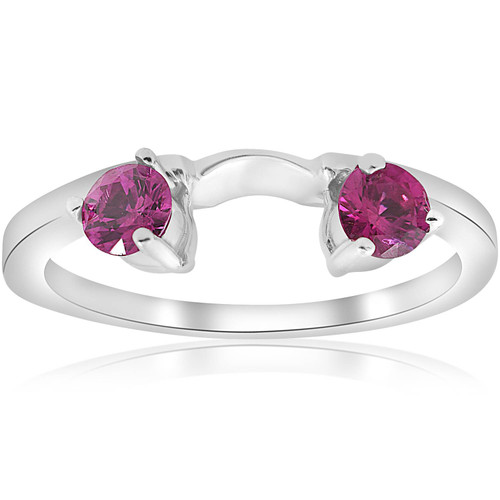 1/2ct Ruby Wrap Engagement Guard Ring 14K White Gold