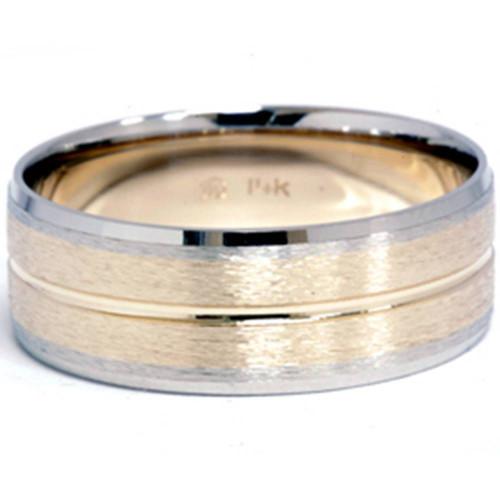 Channel Brushed Wedding Band 14K Gold