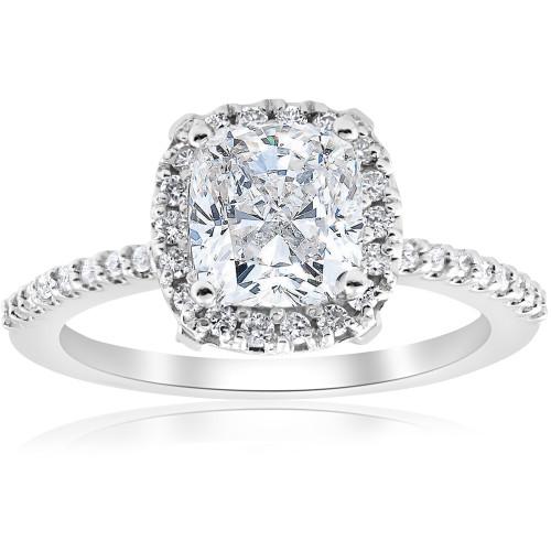 1 3/4ct Cushion Halo Diamond Engagement Ring 14k White Gold ((G-H), (SI1-SI2))
